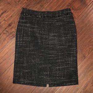 Black White Tweed Skirt Ann Taylor Size 6